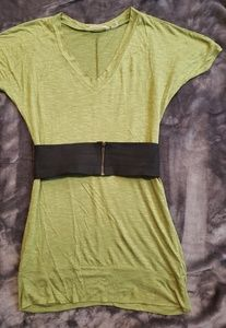 Derek Heart green tunic top with belt size s